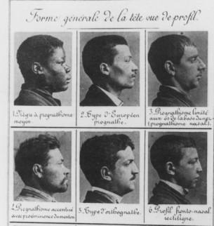 """Jak evidovat kriminálníky? Portréty zločinců byly během 19. století v rámci policejní prefektury v Paříži řazeny do kartotéky na základě tělesných proporcí zobrazovaných jedinců a jejich poměru k """"normálu"""" odvozeného z dobových lékařských a anatomických poznatků; došlo tak ke vzniku určité typologie deviantů právě generalizací jejich tělesných parametrů."""